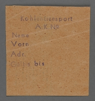1995.89.503 front Work assignment slip from the Kovno ghetto  Click to enlarge