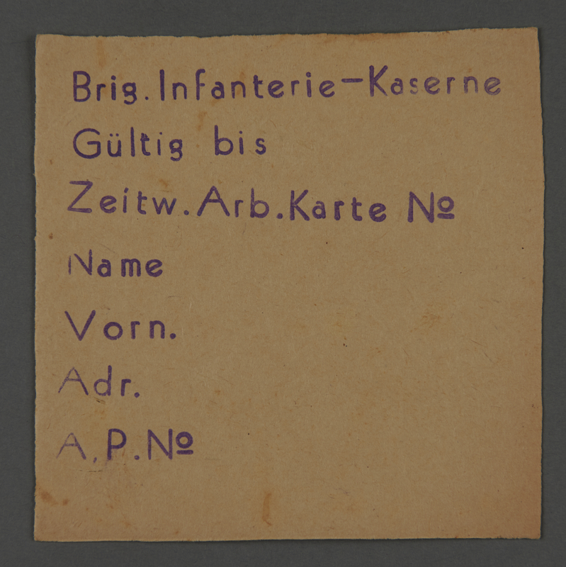 1995.89.504 front Work assignment slip from the Kovno ghetto
