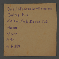 1995.89.504 front Work assignment slip from the Kovno ghetto  Click to enlarge
