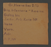 1995.89.505 front Work assignment slip from the Kovno ghetto  Click to enlarge