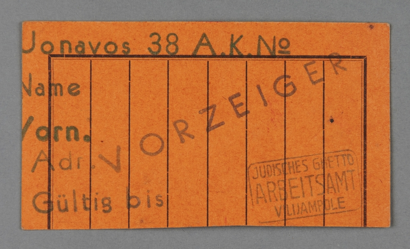 1995.89.506 front Work assignment slip from the Kovno ghetto