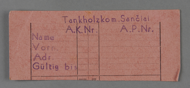 1995.89.508 front Work assignment slip from the Kovno ghetto