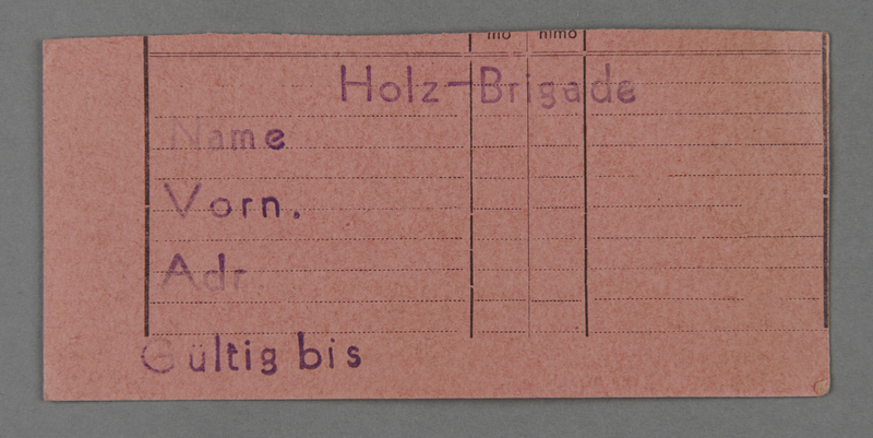1995.89.509 front Work assignment slip from the Kovno ghetto
