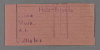 1995.89.509 front Work assignment slip from the Kovno ghetto  Click to enlarge