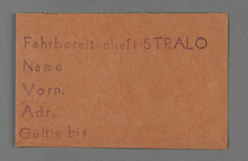 1995.89.511 front Work assignment slip from the Kovno ghetto