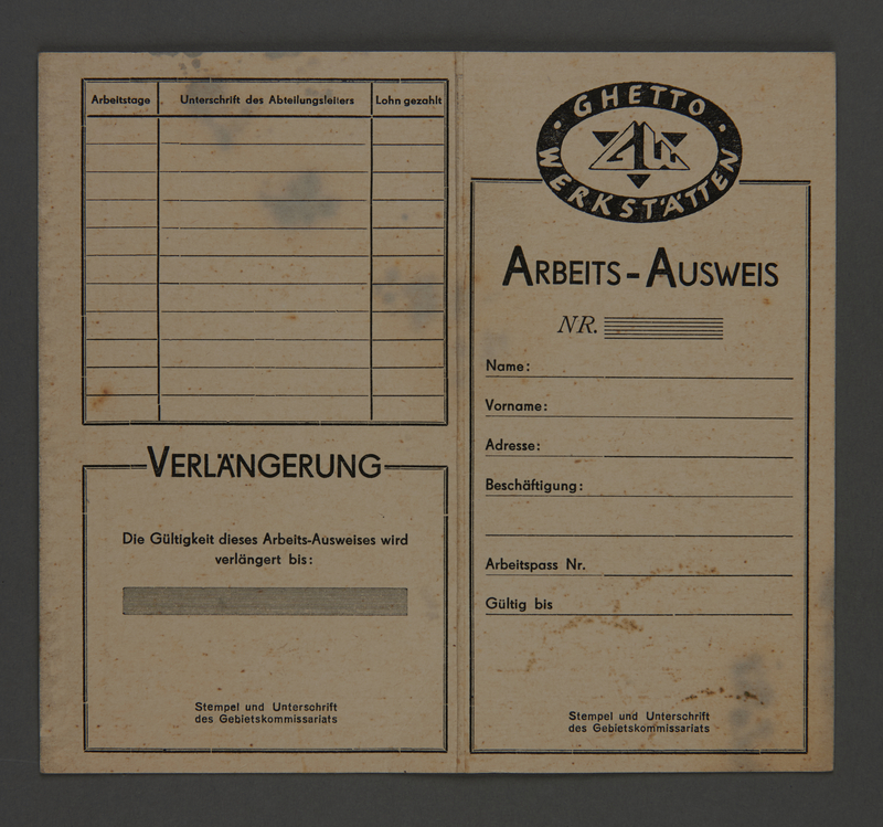 1995.89.513 front Workpermit issued in the Kovno ghetto