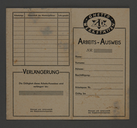 1995.89.513 front Workpermit issued in the Kovno ghetto  Click to enlarge