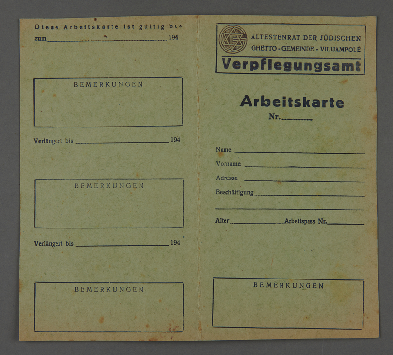 1995.89.514 front Work pass issued by the Altestenrat of the Kovno ghetto