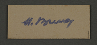 1995.89.520 front Signature of Dr. Moses Braun, head of the Sanitation Department in the Kovno ghetto  Click to enlarge