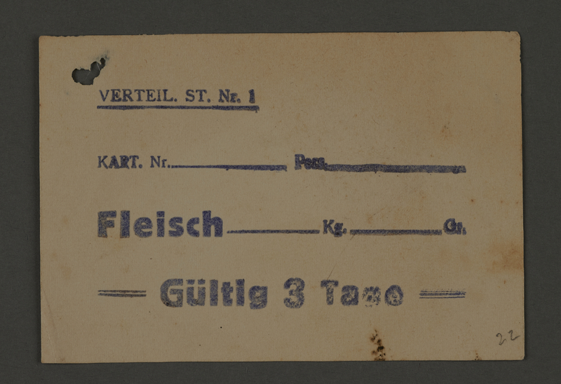 1995.89.531 front Food card issued by Labor Office of the Kovno ghetto