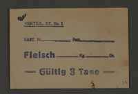 1995.89.531 front Food card issued by Labor Office of the Kovno ghetto  Click to enlarge
