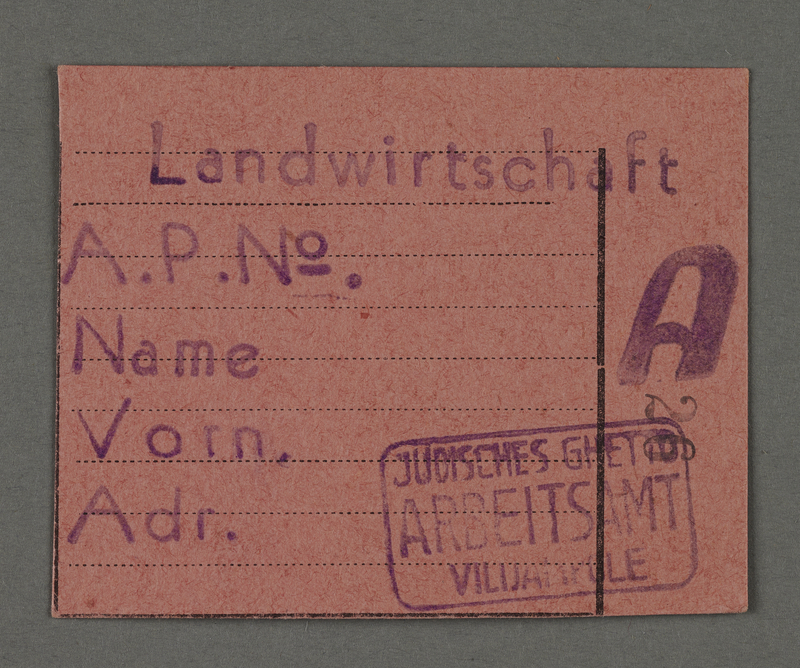 1995.89.536 front Work assignment slip from the Kovno ghetto