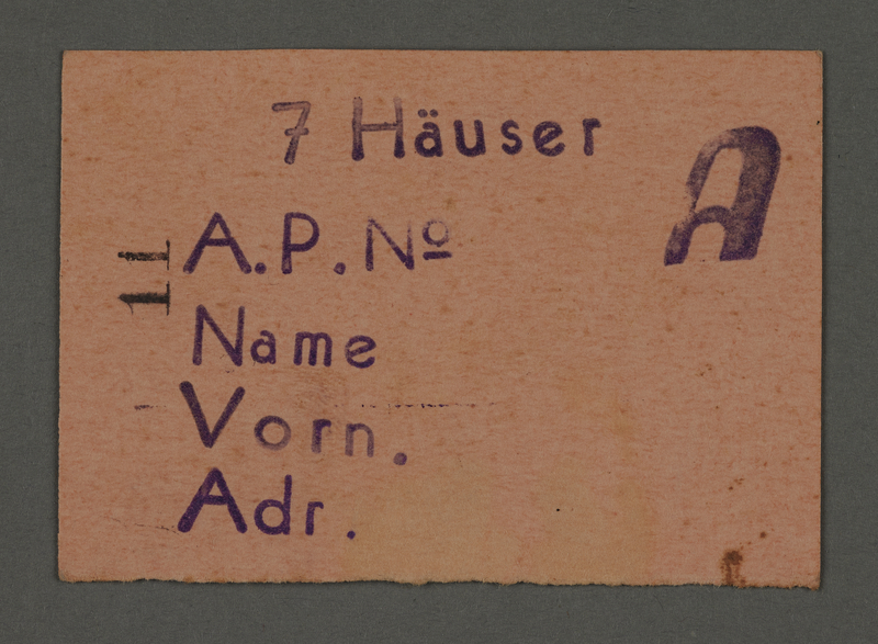 1995.89.537 front Work assignment slip from the Kovno ghetto