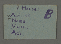 1995.89.539 front Work assignment slip from the Kovno ghetto  Click to enlarge