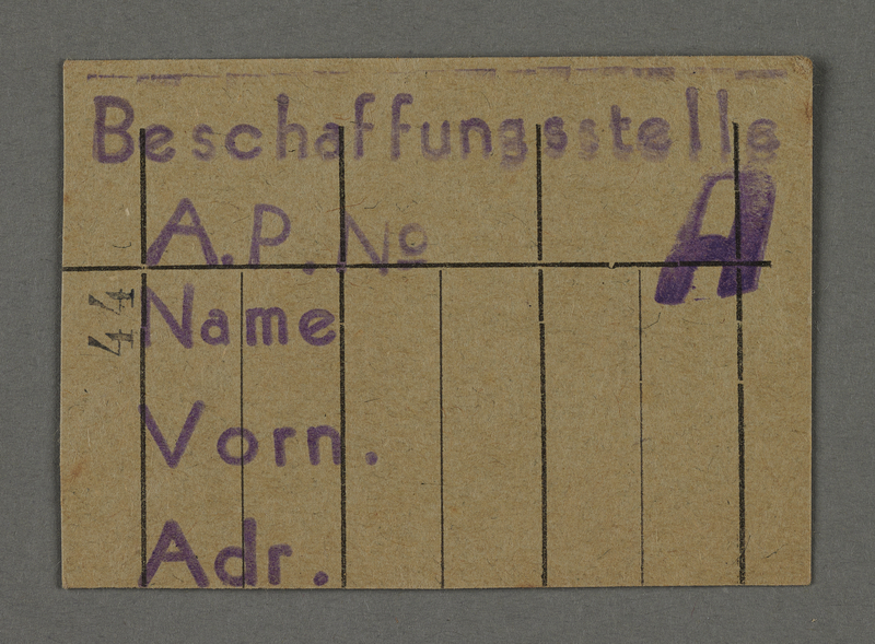 1995.89.542 front Work assignment slip from the Kovno ghetto