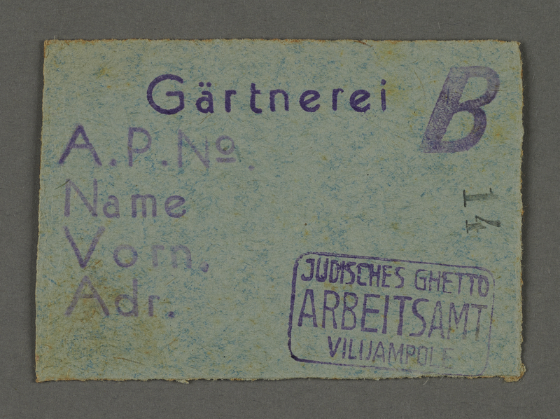 1995.89.545 front Work assignment slip from the Kovno ghetto