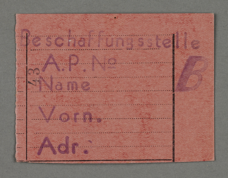 1995.89.546 front Work assignment slip from the Kovno ghetto