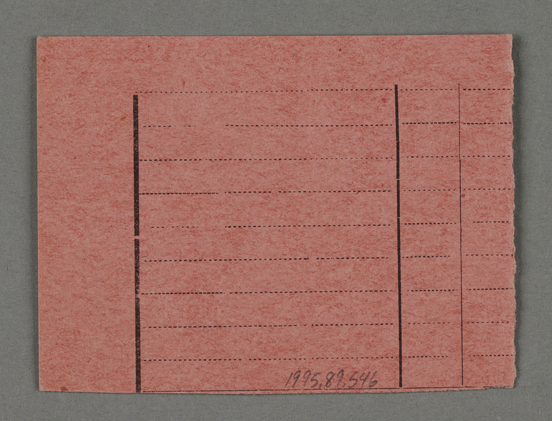 1995.89.546 back Work assignment slip from the Kovno ghetto