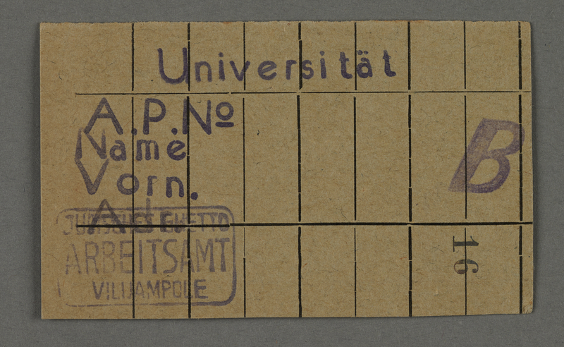 1995.89.547 front Work assignment slip from the Kovno ghetto