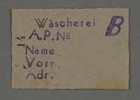 1995.89.548 front Work assignment slip from the Kovno ghetto  Click to enlarge