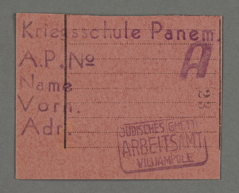 1995.89.549 front Work assignment slip from the Kovno ghetto