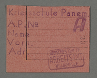 1995.89.549 front Work assignment slip from the Kovno ghetto  Click to enlarge