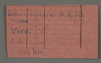 1995.89.551 front Work assignment slip from the Kovno ghetto  Click to enlarge