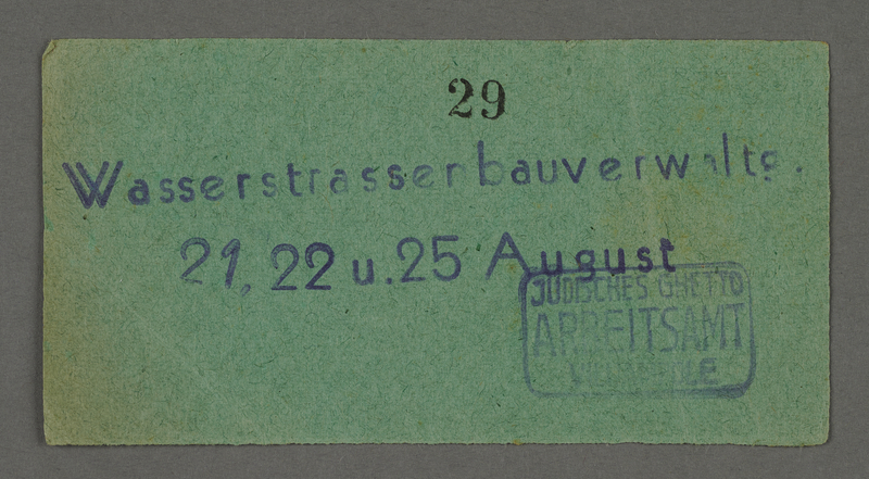 1995.89.553 front Work assignment slip from the Kovno ghetto