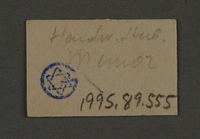 1995.89.555 back Ink stamp impression from an administrative department of the Kovno ghetto  Click to enlarge