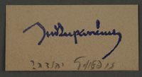 1995.89.558 front Signature of Yehuda Zupovitz, deputy chief of the Jewish Ghetto police in the Kovno ghetto  Click to enlarge