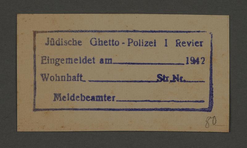 1995.89.561 front Stamp permit of the Jewish Ghetto Police, Precinct 1, of the Kovno ghetto