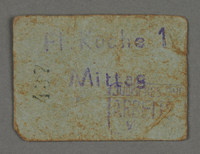 1995.89.562 front Work assignment slip from the Kovno ghetto  Click to enlarge