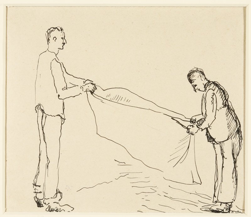 1988.1.39 front Drawing of two men folding a blanket by a German Jewish internee