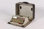 Brother typewriter with metal case and Yiddish type