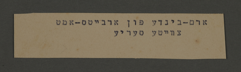 1995.89.582 front Typewritten inscription from an administrative department of the Kovno ghetto