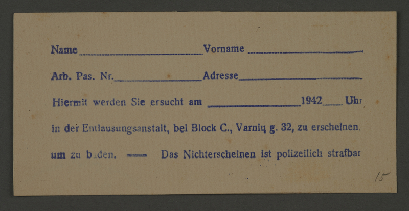 1995.89.59 front Summons for delousing from the Kovno ghetto