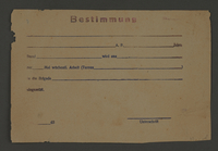 1995.89.596 front Work assignment slip from the Kovno ghetto  Click to enlarge