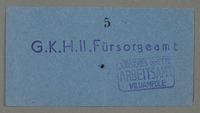 1995.89.60 front Welfare center receipt from the Kovno ghetto  Click to enlarge