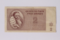 2011.447.5.2 front Theresienstadt ghetto-labor camp scrip, 2 kronen note  Click to enlarge