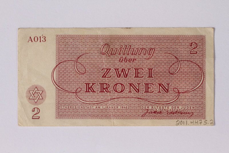 2011.447.5.2 back Theresienstadt ghetto-labor camp scrip, 2 kronen note