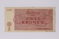 2011.447.5.2 back Theresienstadt ghetto-labor camp scrip, 2 kronen note  Click to enlarge