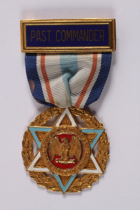 2011.447.11.6 front Jewish War Veterans Past Commander medal and ribbon issued to a US soldier