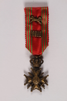 2014.427.3 front War Cross medal owned by a Belgian soldier and former POW  Click to enlarge