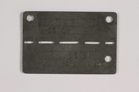 2014.427.5 front Prisoner ID tag issued to a Belgian soldier and former POW  Click to enlarge