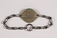 2014.427.6 front Chain link bracelet with prisoner ID tag issued to a Belgian POW  Click to enlarge