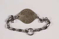 2014.427.6 back Chain link bracelet with prisoner ID tag issued to a Belgian POW  Click to enlarge