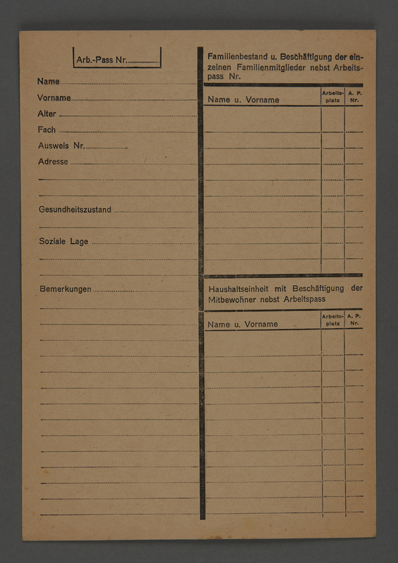 1995.89.602 front Identification document issued from the Kovno ghetto
