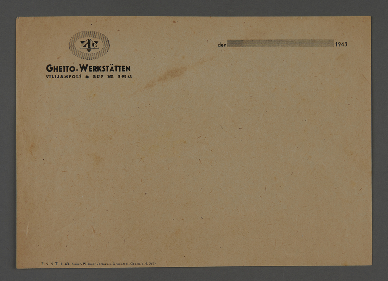 1995.89.607 front Stationery letter form bearing the logo of the Ghetto-Workshops in Kovno, Lithuania
