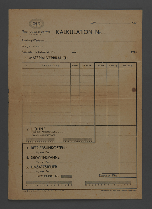 1995.89.610 front Invoice for Kovno ghetto workshops