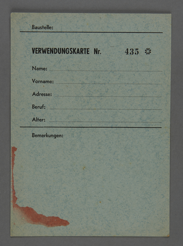 1995.89.617 front Employment card issued in the Kovno ghetto